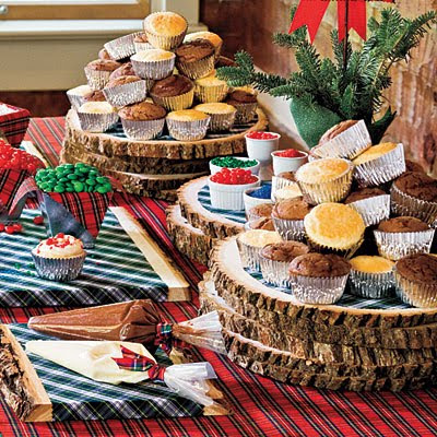 Christmas dessert buffet with slices of trees display